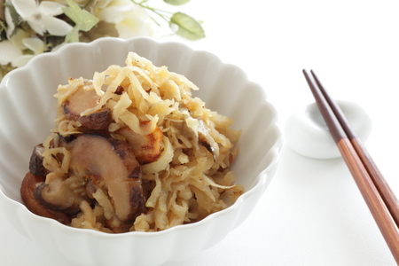 Japanese food, simmered dried radish and mushroom