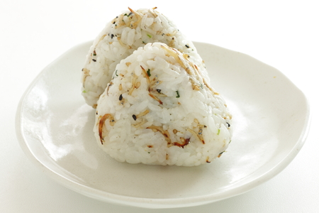 Japanese food, small sardine and sesame in rice ball