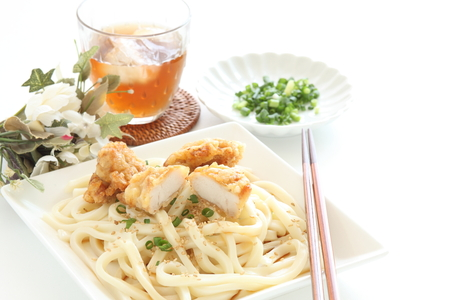 Japanese food, fried chicken on undon noodles