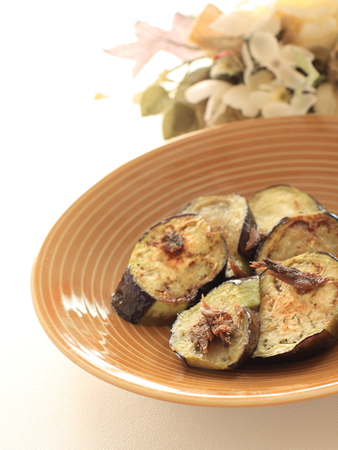 Italian food, avchovy fillet and pan fried eggplant