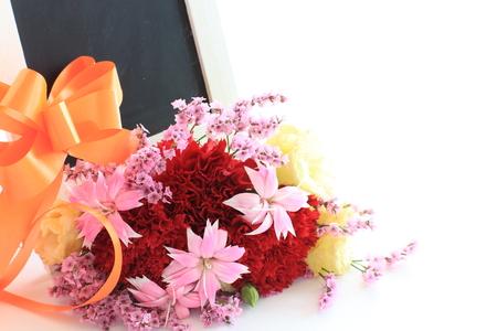 blackboard with bouquet