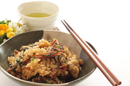 Japanese food, oster rice and green tea Stock Photo