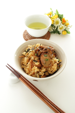 Japanese food, simmered osyter rice and tea