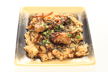 Japanese food, simmered osyter rice with laver
