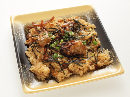Take out food, Japanese oyster rice Stock Photo - 95240643