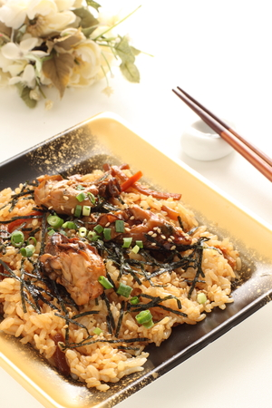 Take out food, Japanese oyster rice Stock Photo - 95250497