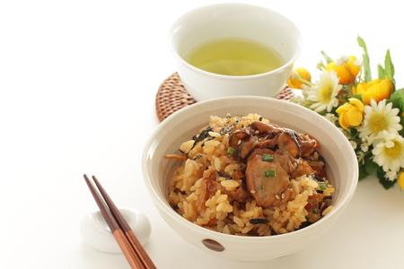 Homemade Japanese oyster rice