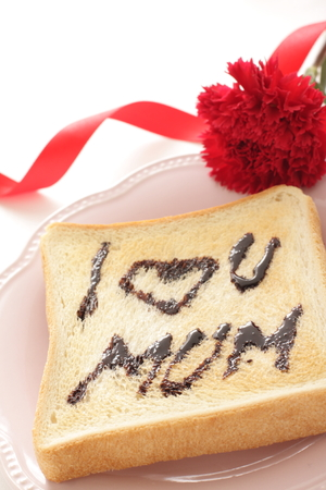 I love you Mum toasted chocolate bread with carnation