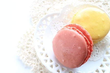 Pastel color confection, french food Macaron and tea for mothers day image 版權商用圖片
