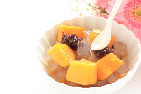 Mango and kanten jelly with bean for Wagashi image