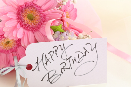 Hand written Happy birthday card and flora Stok Fotoğraf - 98905266