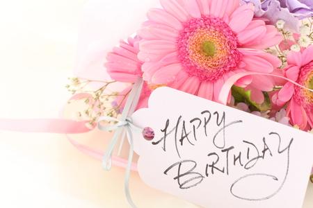 Hand writing birthday card and flower 免版税图像