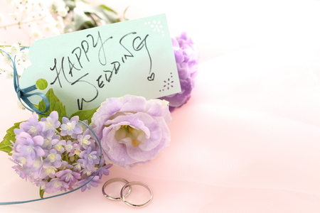 Happy wedding greeting card and flower bouquet Stock Photo