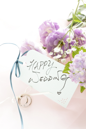 Hydrangea and wedding ring Stock Photo