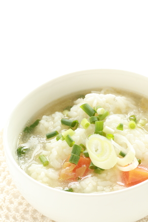Korean food, rice in soup with scallion 版權商用圖片