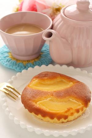 Homemade apple cake and milk tea