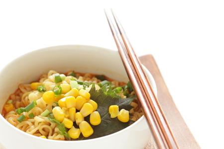 Homemade Japanese ramen with corn and seaweed