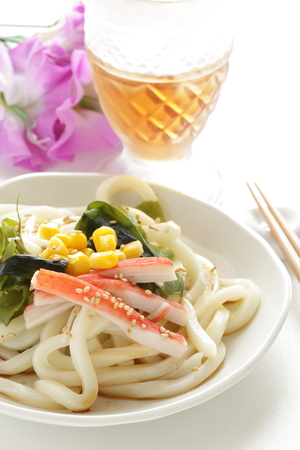 Japanese summer cuisine, Kanikama and seaweed on cold udon 스톡 콘텐츠 - 97602024