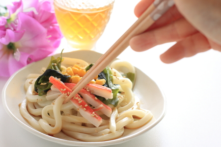 Japanese summer cuisine, Kanikama and seaweed on cold udon