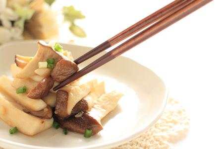Japanese food, eringi and spring onion stir fried