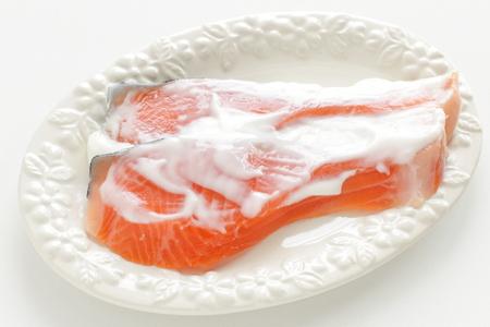 Yogurt and salmon fish