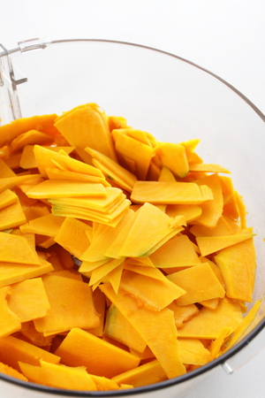 sliced pumpkin for prepared food image Stock Photo
