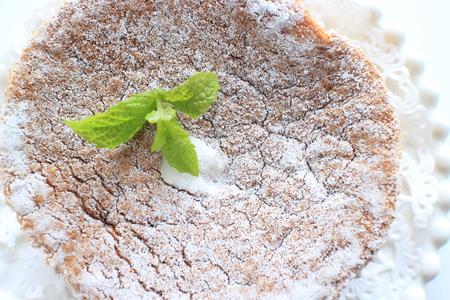 Chiffon cake and mint