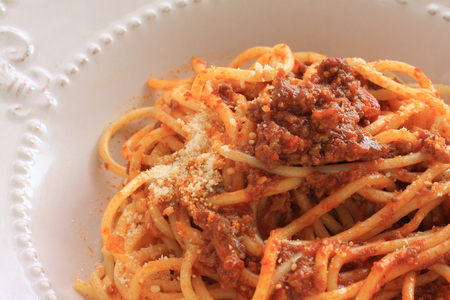 Homemade meat sauce and cheese spaghetti Stock Photo