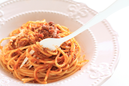 Homemade meat sauce and cheese spaghetti 写真素材 - 97269847