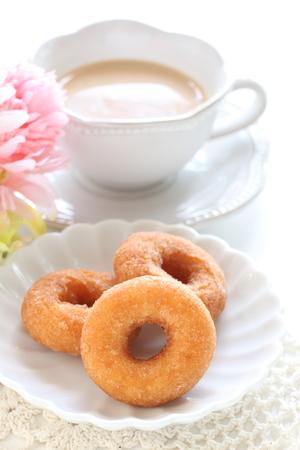 dought on dish and milk tea Stock Photo