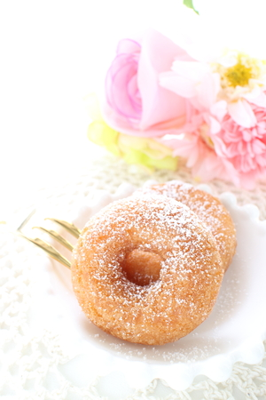 sugar donut and flower