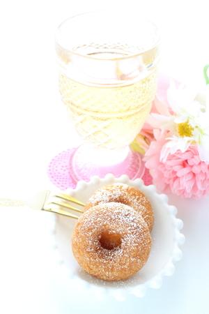 Sweet sugar doughnut and  tea Stock Photo