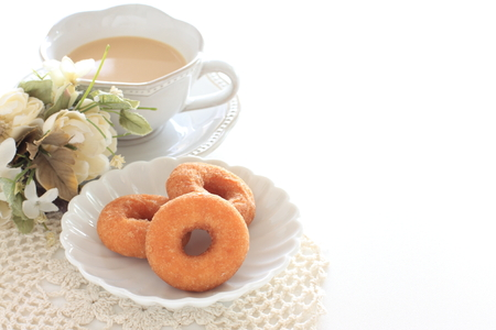 Sugar doughnut and milk tea Stock Photo
