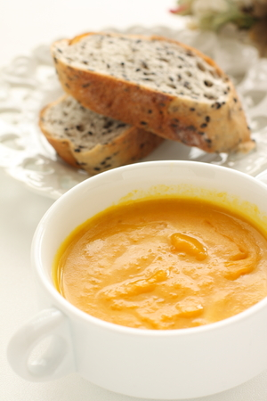 Pumpkin soup and bread