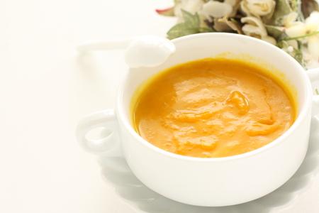 Pumpkin soup and flower