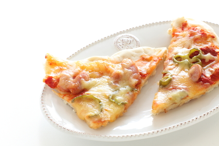 Homamde sausage and pepper pizza Stock Photo