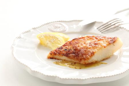 homemade fish sauteed served with lemone and mustard sauce