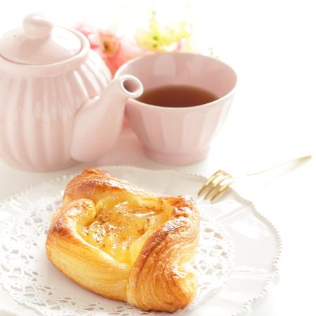 Home bakery, apple pie on dish and tea Stock Photo