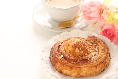 Danish pastry and milk tea