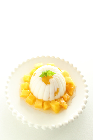 Homemade mango and almond tofu for Chinese dessert image