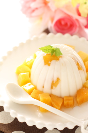 mango and agar jelly for asian sweet food image Stock Photo