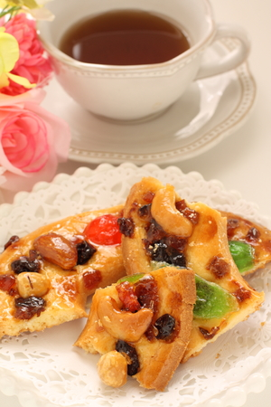 Christmas dried fruit and nut cookie Stock Photo