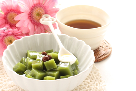 Japanese confection, green tea agar jelly and bean