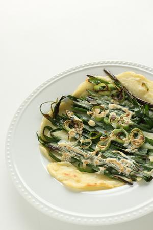 Korean food, leek and scallion pan cake jeon