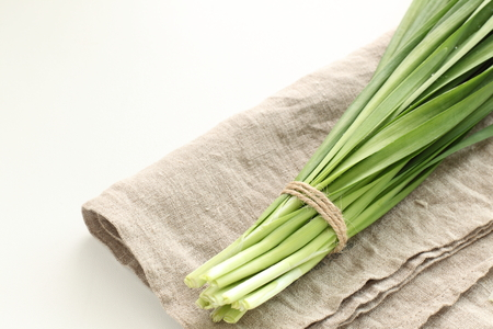 leek on linen for Chinese vegetable image