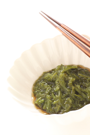 Japanese food, seaweed Kombu and sauce Stock Photo