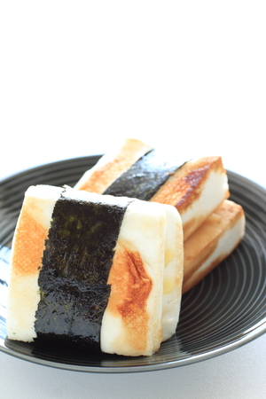 Japanese Hanpen fish cake and seaweed Nori pan fried with soy sauce