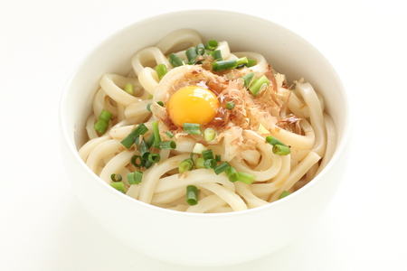 Japaneses food, Katsuobushi and quail egg on udon