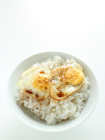 Asian food, Pan fried quail egg and soy on rice Zdjęcie Seryjne