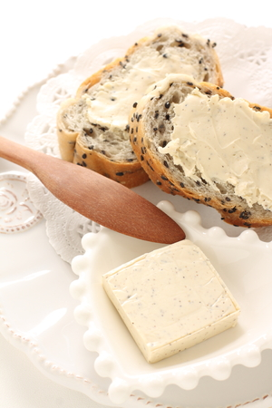 cream cheese on dish with copy space